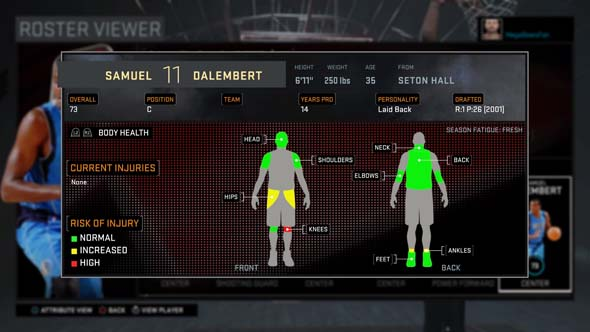 NBA 2k16 - player health