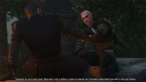The Witcher III: Blood and Wine - sharing a drink with Regis