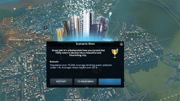 Cities: Skylines: Green Cities - scenario victory conditions