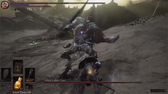 Dark Souls III: the Ringed City - Slave Knight Gael stunned