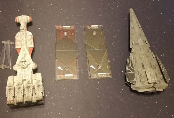 Star Wars X-Wing - Corvette and Raider weapon arcs