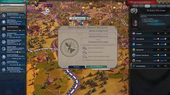 Civilization VI - sabotage Scottish rocketry