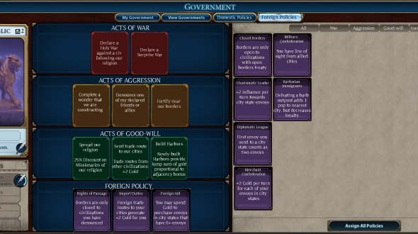 Civilization VI - MOCK: government screen: Foreign Policy