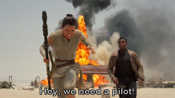 The Force Awakens - Rey is a pilot