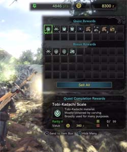 Monster Hunter: World - quest rewards