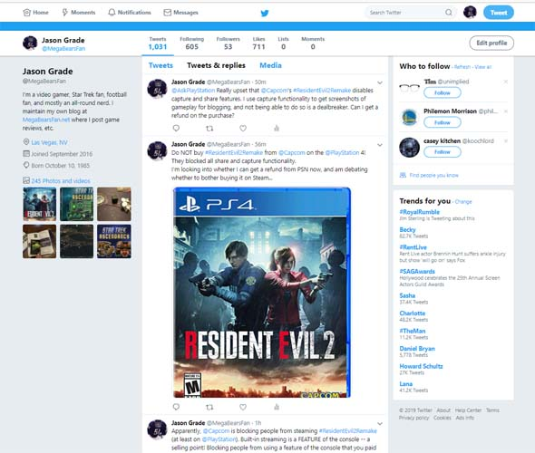 Twitter - RE2 refund