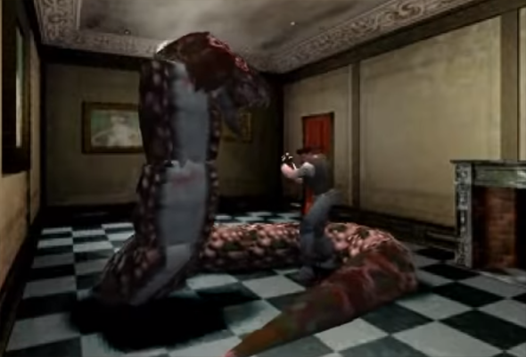 Resident Evil - fighting boss with knife