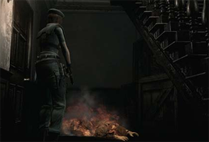 Resident Evil REmake - burning body