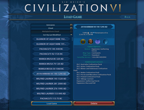 Civilization VI Gathering Storm - load game