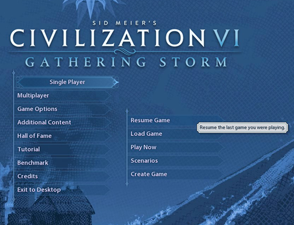 Civilization VI Gathering Storm - resume game
