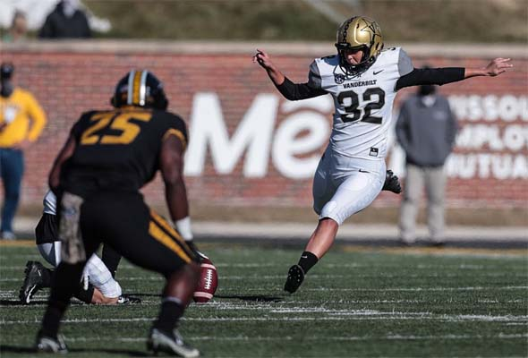 Sarah Fuller kicks for Vanderbilt