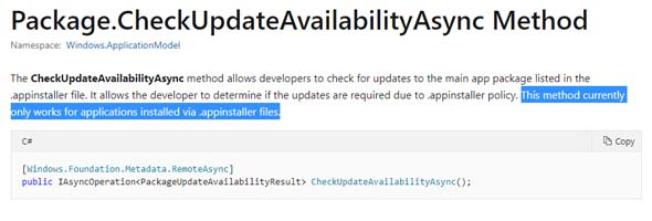 MSDN - Package.CheckUpdateAvailabilityAsync() method