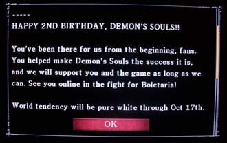 Demon's Souls 2nd birthday message