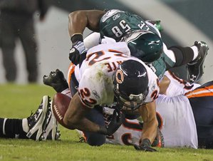Bears 30, Eagles 24 - Matt Forte fumbled twice.