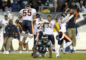 Bears 30, Eagles 24 - Jeremy Maclin is just short of a fourth down conversion to keep the Eagles in the game.