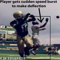 NCAA 12 defender's sudden speed burst from side pedaling