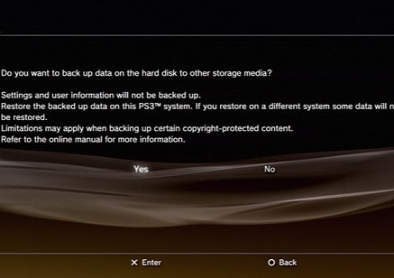 PS3 backup prompt