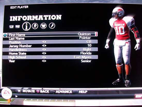 NCAA Football 13 player customization