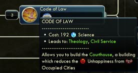 Civ V Mod - Code of Laws (1a) tech tree