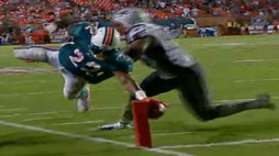 Patriots 38, Dolphins 24 - Reggie Bush breaks the plane, but was called out of bounds on the field.