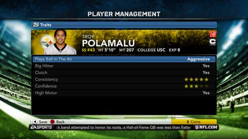 Madden NFL 12 - player tendencies.
