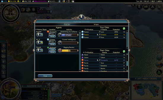 Civilization V Gods & Kings - espionage widget'