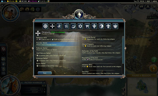 Civilization V Gods & Kings - religion widget'