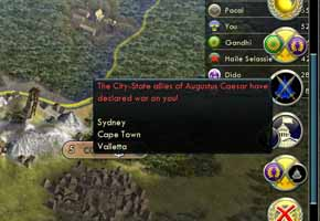 Civilization V Gods & Kings - City State notifications