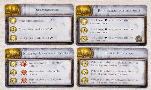 Civilization Fame and Fortune - Investment cards
