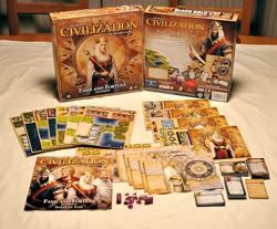 Civilization: Fame and Fortune box and contents