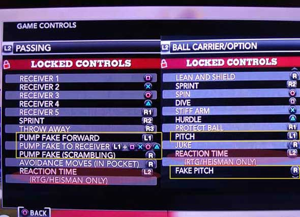 NCAA Football 13 - obfuscated controls