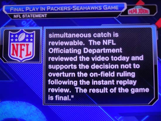 NFL response to Simultaneous Catch