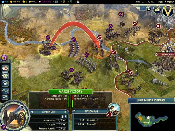 Civilization V - ranged combat